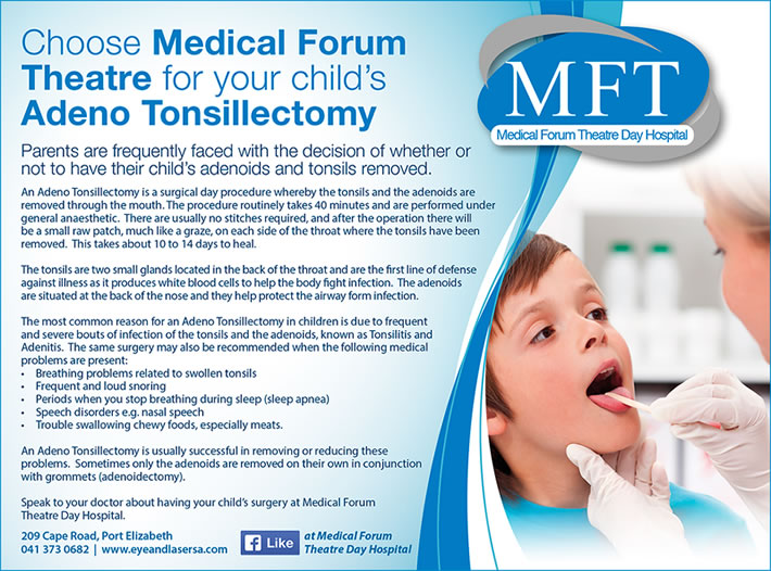Choose Medical Forum Theatre for your child's Adeno Tonsillectomy
